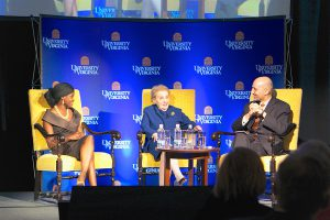 Ogunseye and Albright, the night's awardees, joined a moderated conversation with William J. Antholis, the director of UVA's Miller Center and former managing director of the Brookings Institution.
